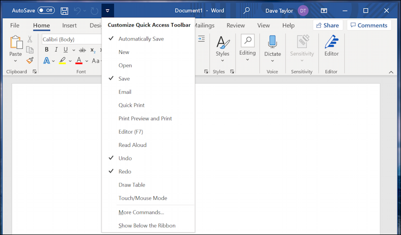 word for windows office 365 - quick access toolbar - customization