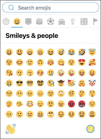 twitter.com web interface - emoji keyboard - smileys and people