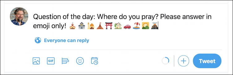 twitter.com web interface - emoji keyboard - ready to post