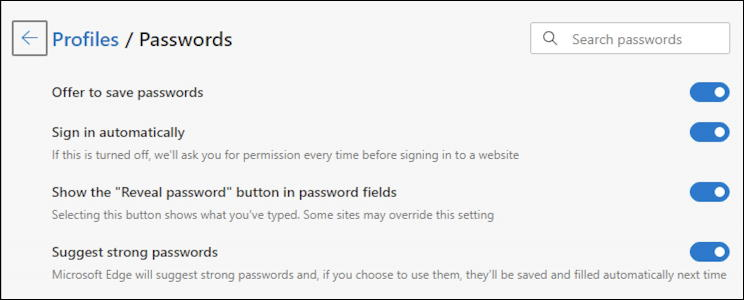 microsoft edge windows 10 win10 - profile settings - passwords
