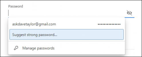 microsoft edge windows 10 win10 - strong password and other already on file