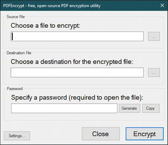 windows 10 win10 pc - password protect pdfencrypt - main window