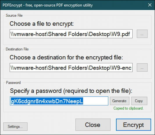windows 10 win10 pc - password protect pdfencrypt - filled in password generated