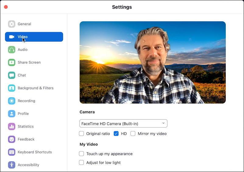 zoom app mac - settings/preferences - video