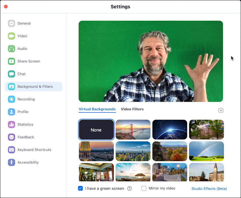 zoom app mac - settings/preferences - backgrounds