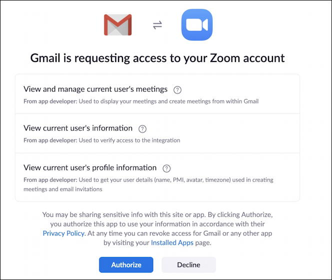 grant permission zoom for gmail extension
