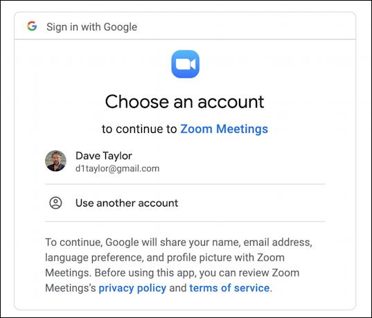 zoom for gmail - choose gmail account google