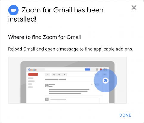 zoom for gmail - installed!