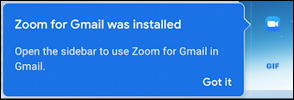 zoom for gmail has been installed