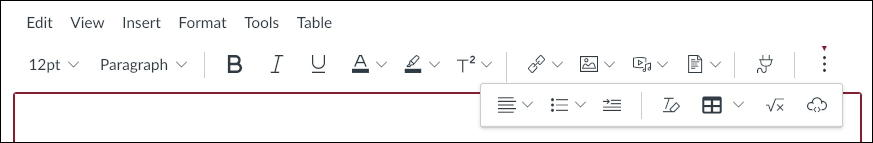 canvas lms rce editor - all buttons
