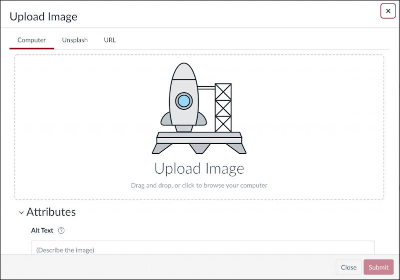 canvas lms rce editor - add upload insert photo graphic picture image