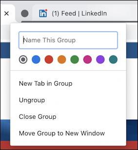 google chrome - tab groups - create new tab group
