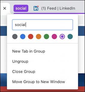 google chrome - tab groups - named tab group