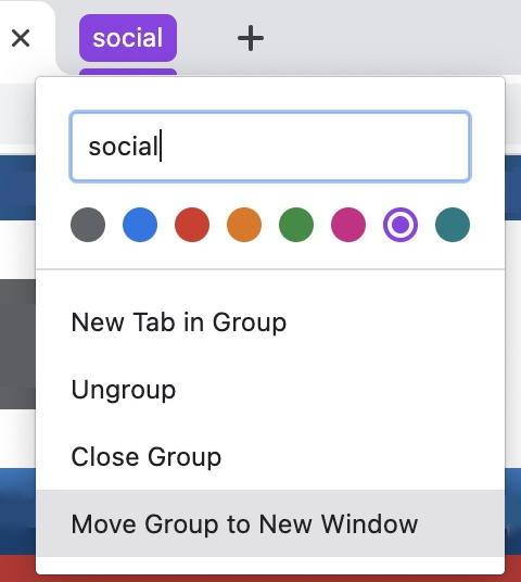 google chrome - tab groups - move tab group to own window