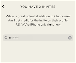 invite someone to clubhouse how to - search by number