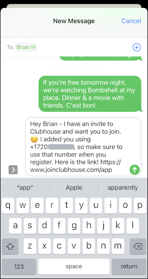 invite someone to clubhouse how to - text message to invite
