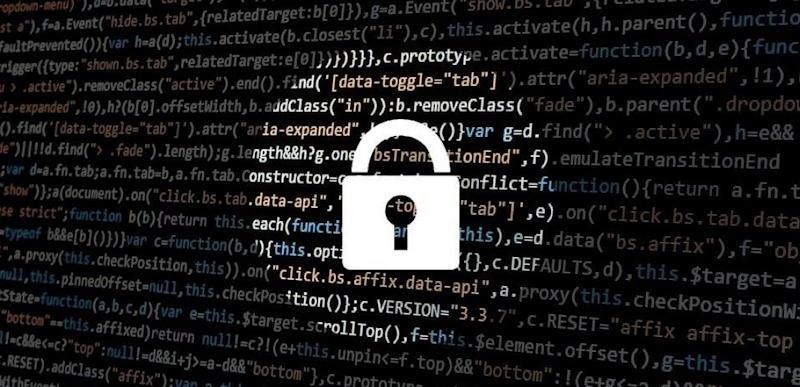 padlock over code graphic
