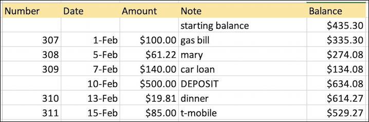microsoft excel basics - checkbook ledger - spreadsheet