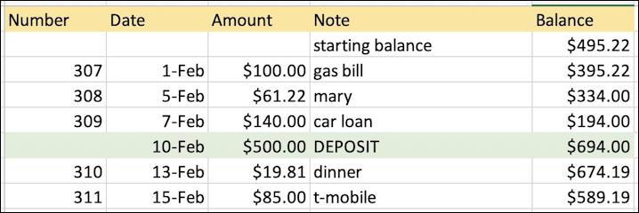 microsoft excel basics - checkbook ledger - new starting balance