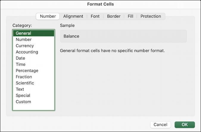 microsoft excel basics - checkbook ledger - format cells - data type