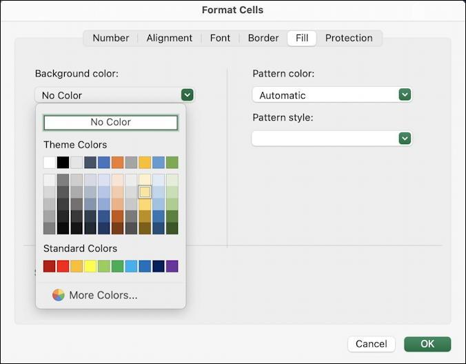 microsoft excel basics - checkbook ledger - fill color option cell formatting