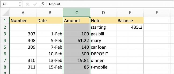 microsoft excel basics - checkbook ledger - fill color demo