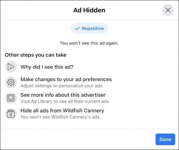 facebook newsfeed advert - how to hide - ad hidden