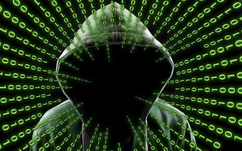 hooded hacker code matrix