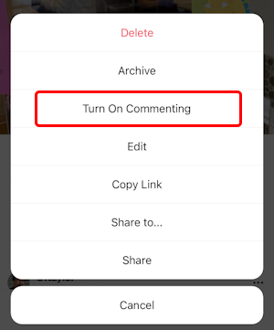 instagram post - disable comments - turn on commenting