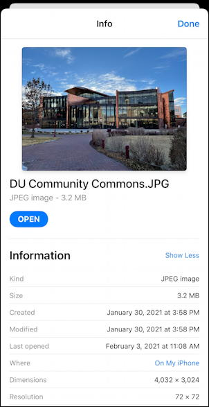iphone ios14 example exif information display photo camera