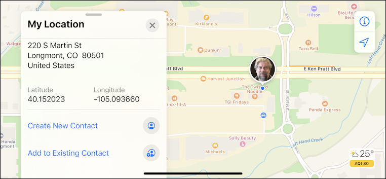 iphone apples maps - current latitude longitude lat long