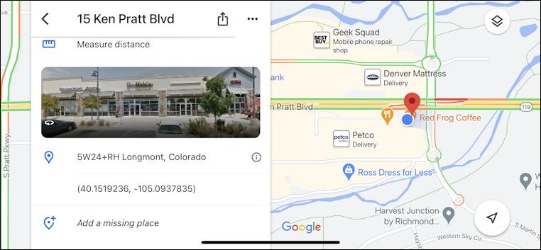 google maps on iphone - showing latitude longitude