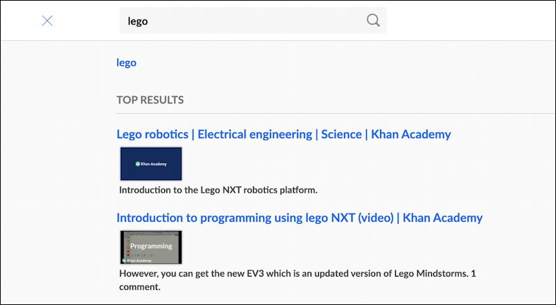 khan academy search reverse engineer - embedded search results
