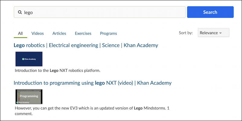 khan academy search reverse engineer - new page search results