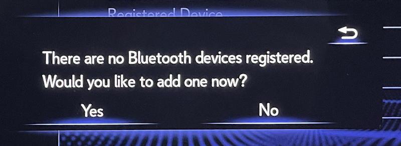 lexus infotainment system: pair bluetooth phone - no phone registered