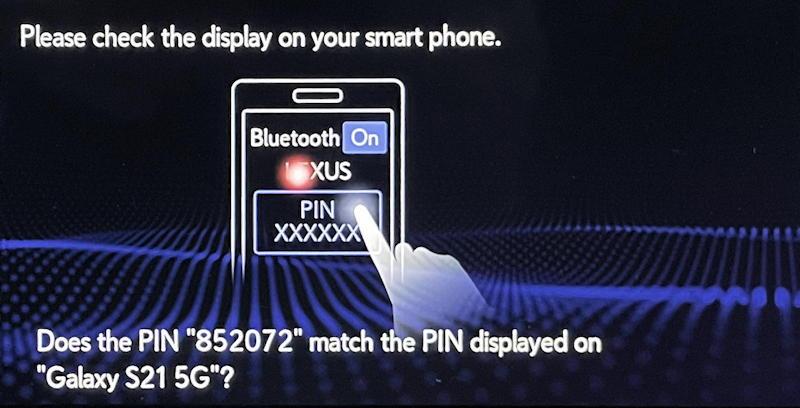 lexus infotainment system: pair bluetooth phone - pairing PIN