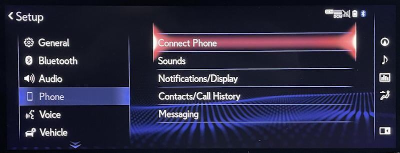 lexus infotainment system: pair bluetooth phone - connect phone