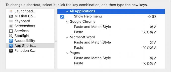 macos 11 - system preferences - keyboard shortcuts - final shortcuts listing