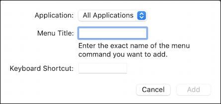 macos 11 - system preferences - keyboard shortcuts - enter new shortcut