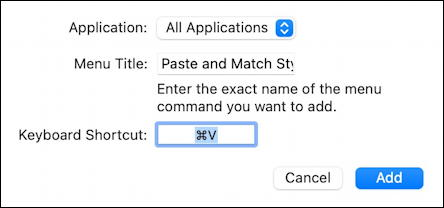 macos 11 - system preferences - keyboard shortcuts - paste and match style