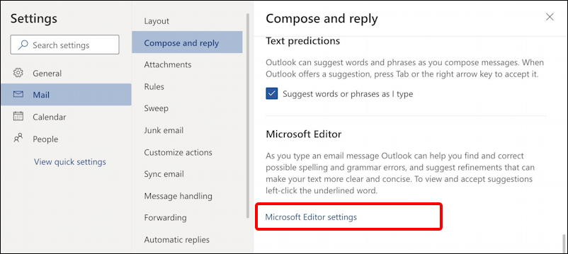 outlook.com email - settings - mail - compose & reply