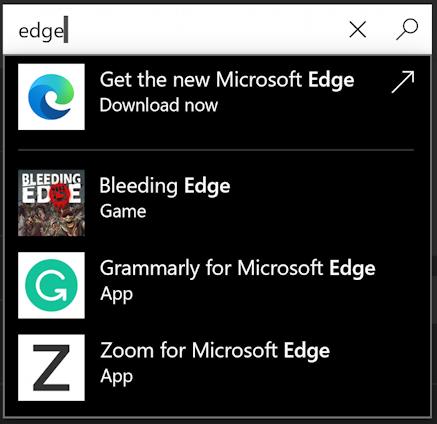 microsoft app store - search for EDGE