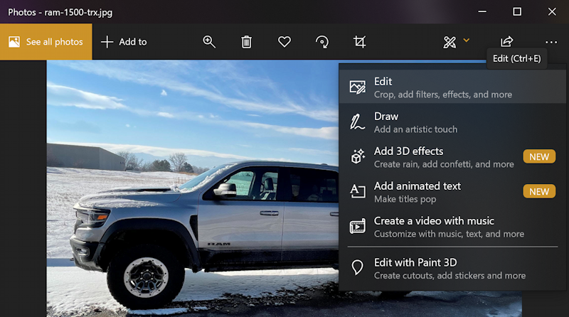 win10 photos - rotate - fix horizon - ram 1500 truck - edit menu