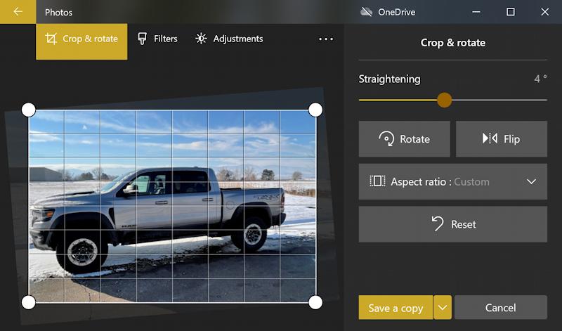 win10 photos - rotate - fix horizon - ram 1500 truck - straightening grid
