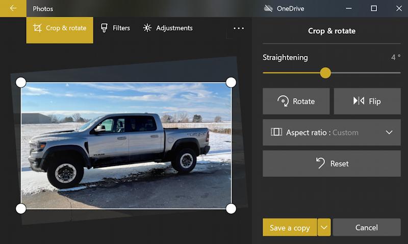 win10 photos - rotate - fix horizon - ram 1500 truck - straightened adjusted fixed