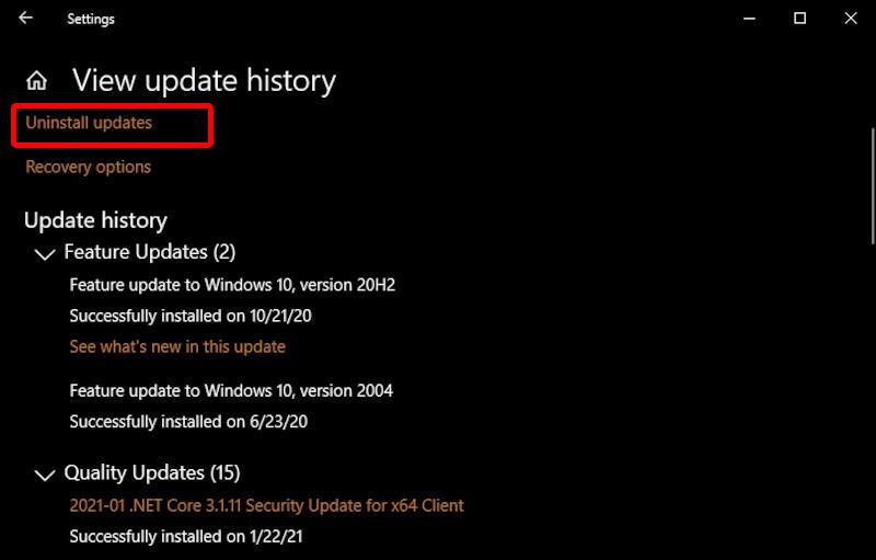 win10 windows update history - uninstall update