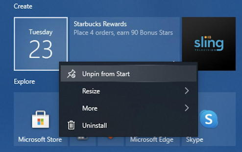 how to delete win10 start menu tile shortcut