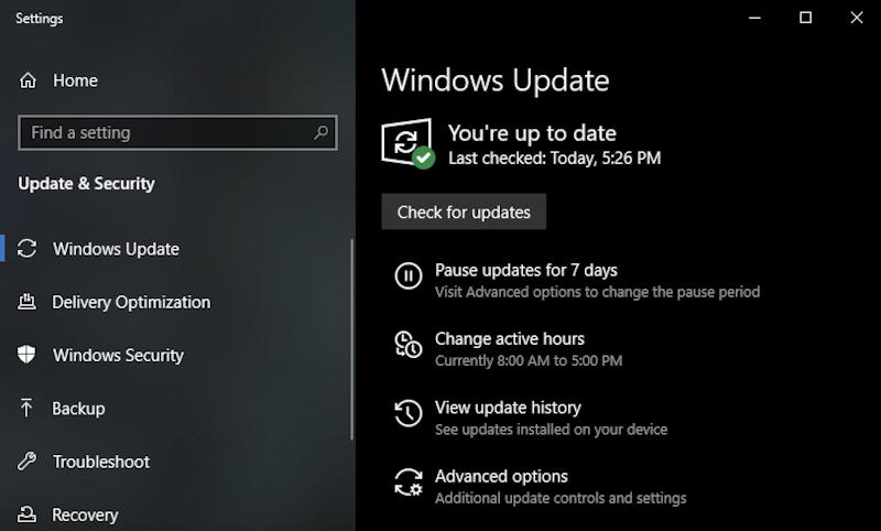 windows 10 check for updates - up to date