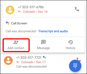 android add contact name phone email - incoming recent