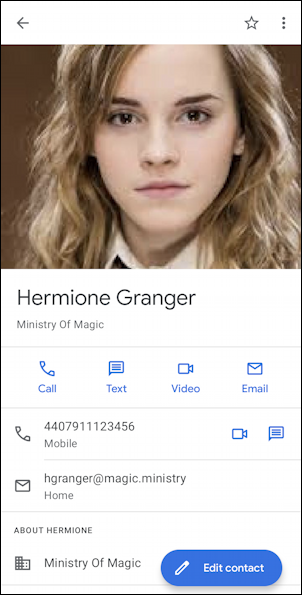 hermione granger / emma watson contact android 11